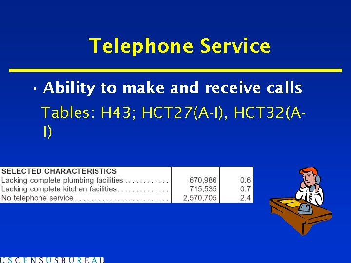 Telephone Service • Ability to make and receive calls Tables: H 43; HCT 27(A-I),