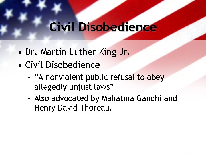 """Civil Disobedience • Dr. Martin Luther King Jr. • Civil Disobedience - """"A nonviolent"""