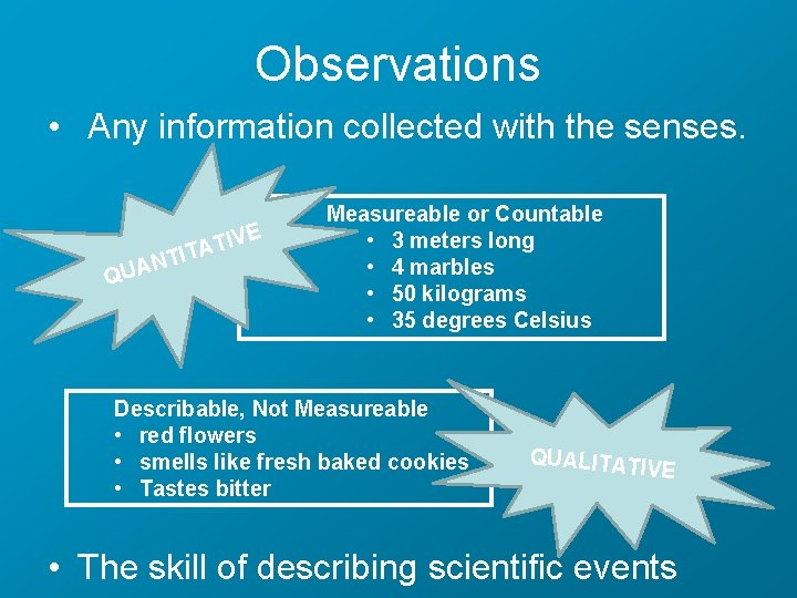 Observations • Any information collected with the senses. E IV T A T TI