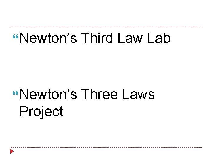 Newton's Third Law Lab Newton's Three Laws Project