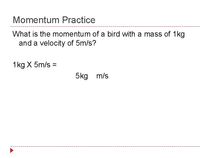 Momentum Practice What is the momentum of a bird with a mass of 1