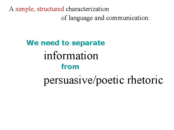 A simple, structured characterization of language and communication: We need to separate information from