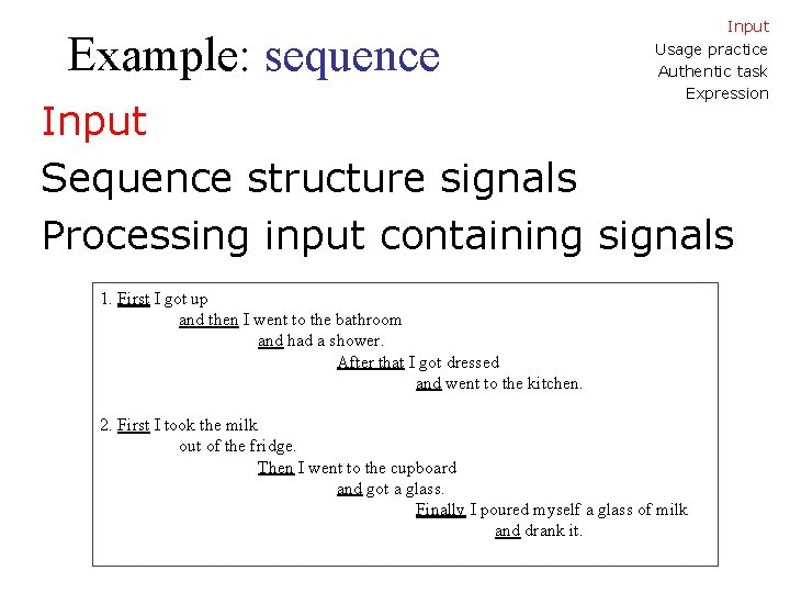 Example: sequence Input Usage practice Authentic task Expression Input Sequence structure signals Processing input