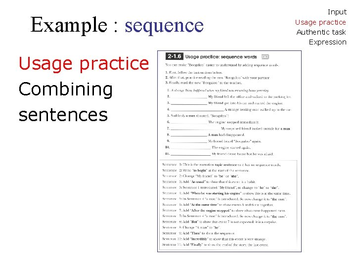 Example : sequence Usage practice Combining sentences Input Usage practice Authentic task Expression