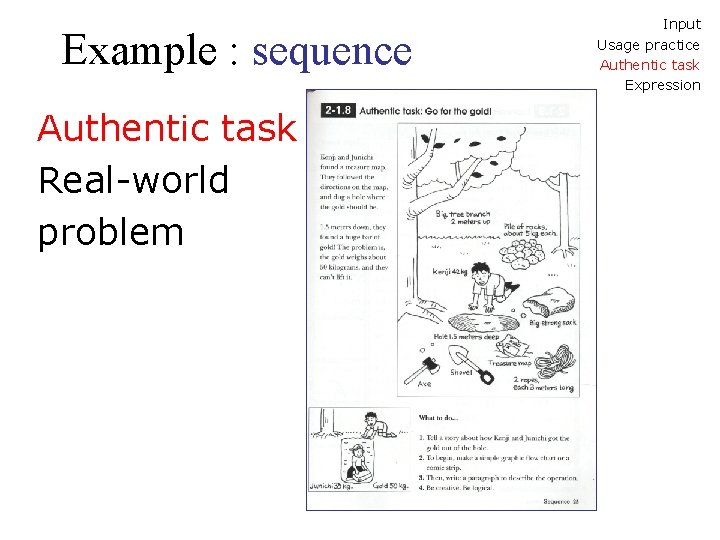 Example : sequence Authentic task Real-world problem Input Usage practice Authentic task Expression