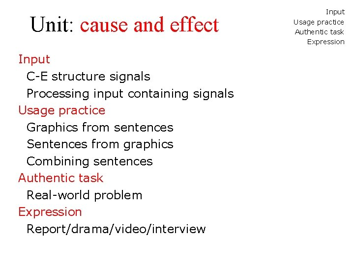 Unit: cause and effect Input C-E structure signals Processing input containing signals Usage practice