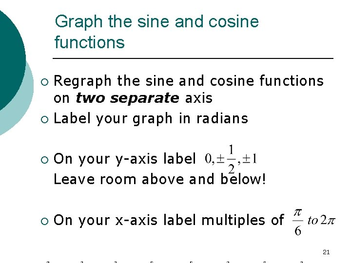 Graph the sine and cosine functions Regraph the sine and cosine functions on two