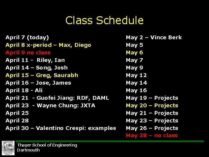 Class Schedule April April April April 7 (today) 8 x-period – Max, Diego 9