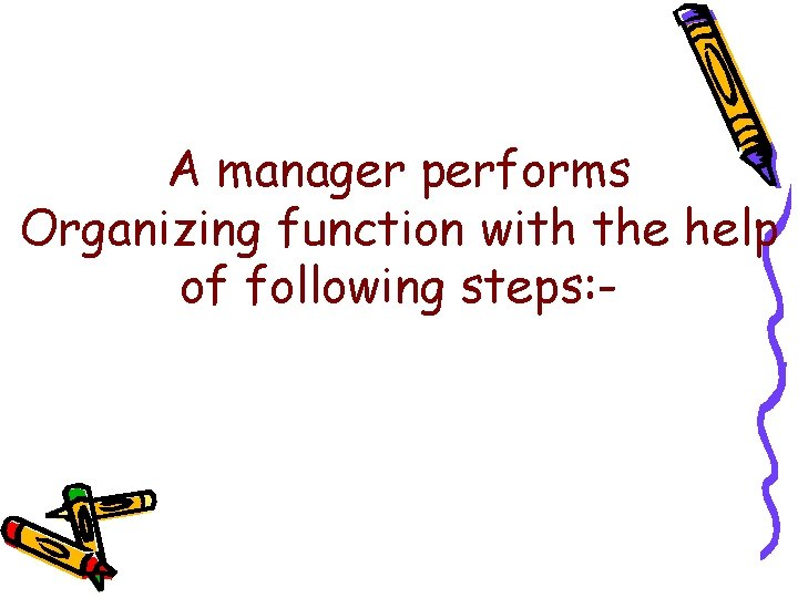 A manager performs Organizing function with the help of following steps: -