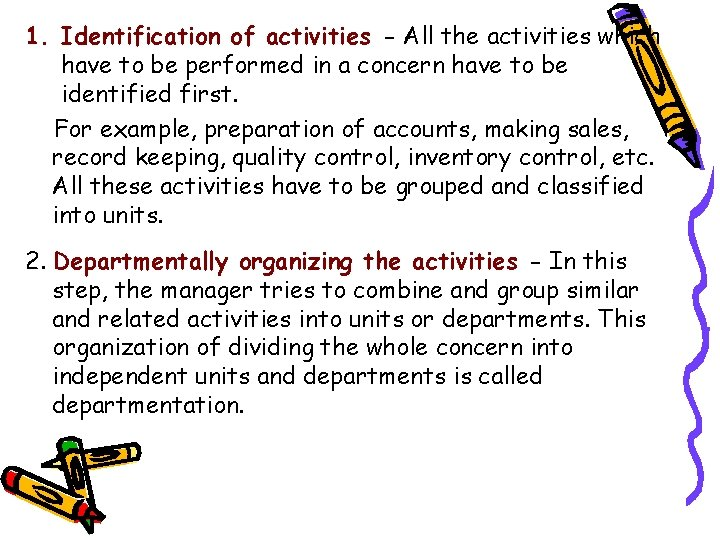 1. Identification of activities - All the activities which have to be performed in