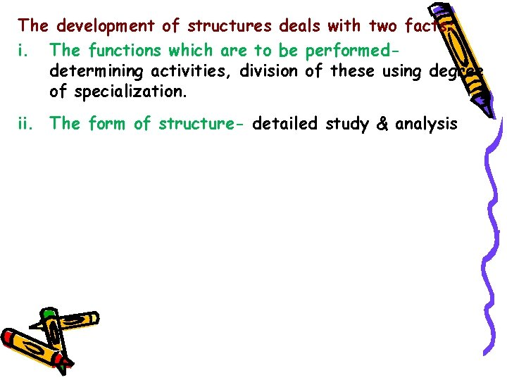 The development of structures deals with two facts: i. The functions which are to