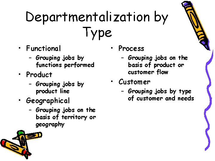 Departmentalization by Type • Functional – Grouping jobs by functions performed • Product –