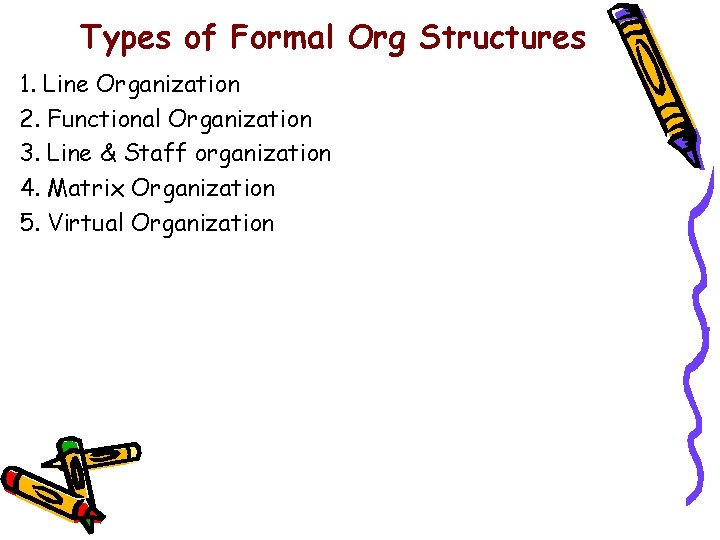 Types of Formal Org Structures 1. Line Organization 2. Functional Organization 3. Line &