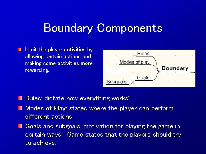 Boundary Components Limit the player activities by allowing certain actions and making some activities
