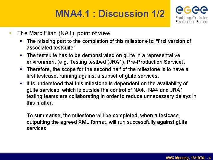 MNA 4. 1 : Discussion 1/2 • The Marc Elian (NA 1) point of