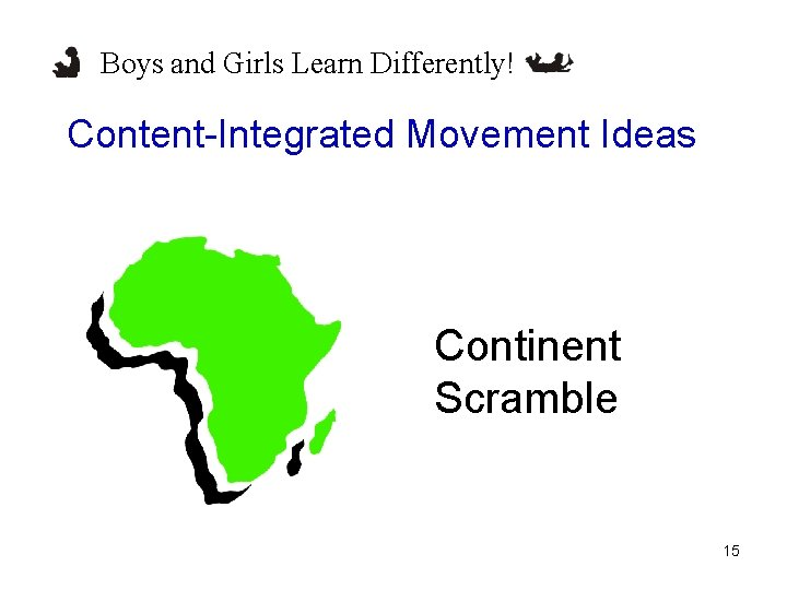 Boys and Girls Learn Differently! Content-Integrated Movement Ideas Continent Scramble 15
