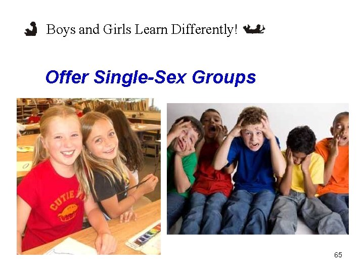 Boys and Girls Learn Differently! Offer Single-Sex Groups 65