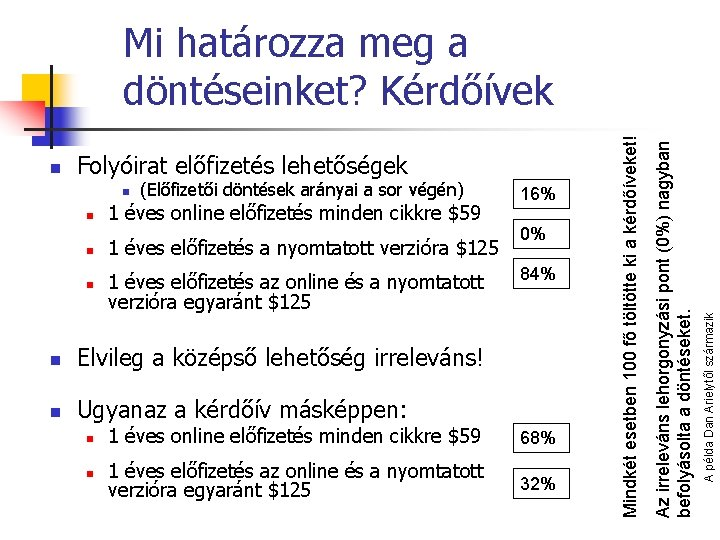 n (Előfizetői döntések arányai a sor végén) n 1 éves online előfizetés minden cikkre