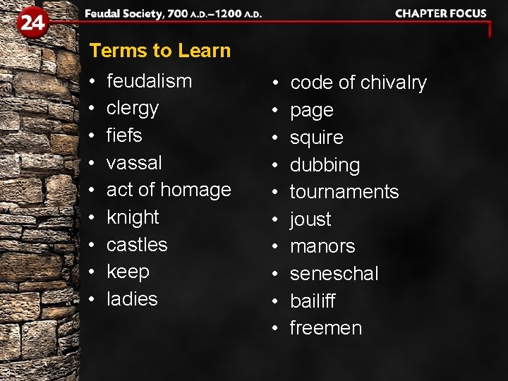 Terms to Learn • • • 3 feudalism clergy fiefs vassal act of homage
