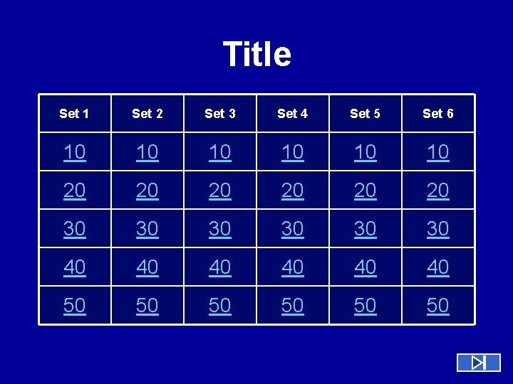 Title Set 1 Set 2 Set 3 Set 4 Set 5 Set 6 10