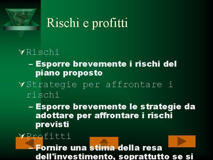 Rischi e profitti Ú Rischi – Esporre brevemente i rischi del piano proposto Ú