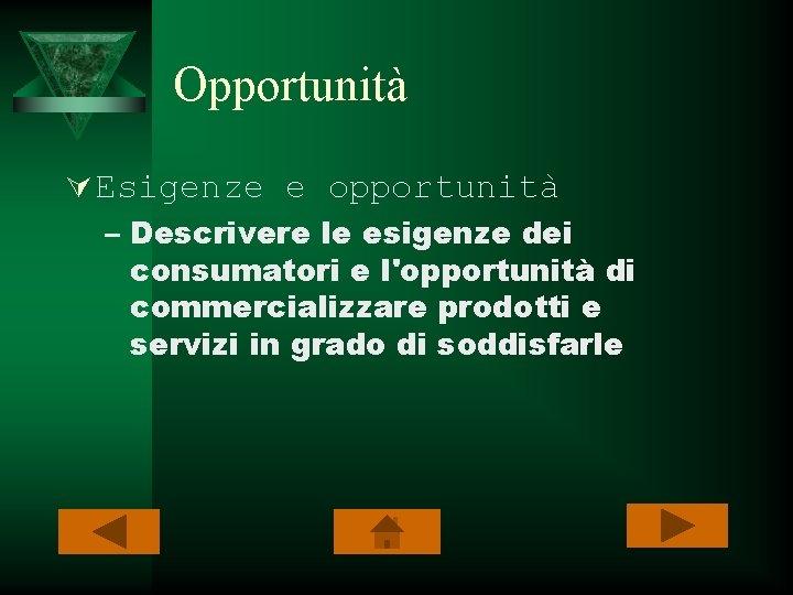 Opportunità Ú Esigenze e opportunità – Descrivere le esigenze dei consumatori e l'opportunità di