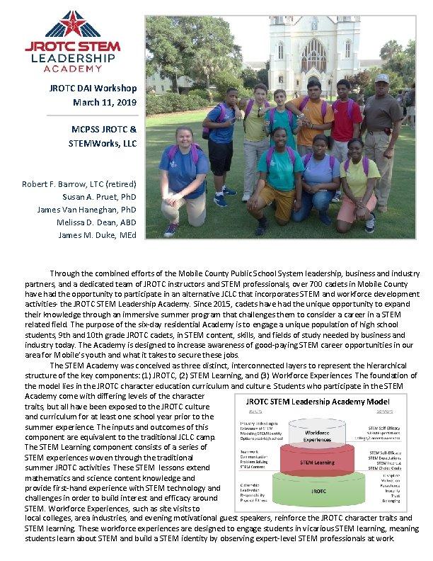 JROTC DAI Workshop March 11, 2019 MCPSS JROTC & STEMWorks, LLC Robert F. Barrow,