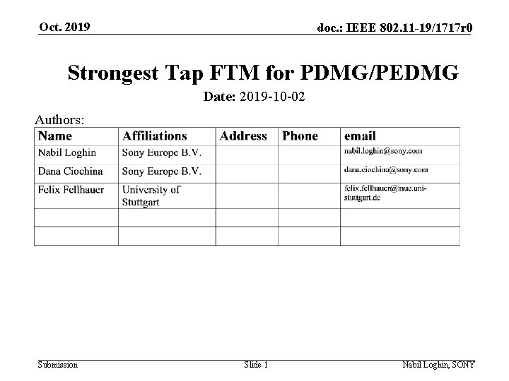 Oct. 2019 doc. : IEEE 802. 11 -19/1717 r 0 Strongest Tap FTM for