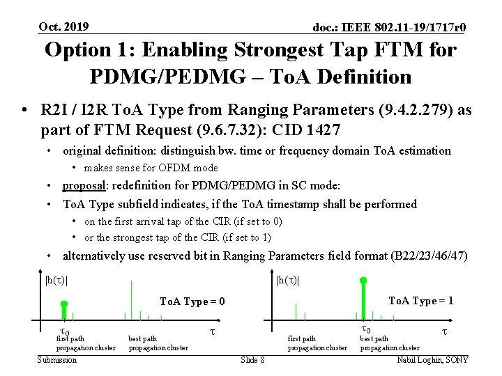 Oct. 2019 doc. : IEEE 802. 11 -19/1717 r 0 Option 1: Enabling Strongest