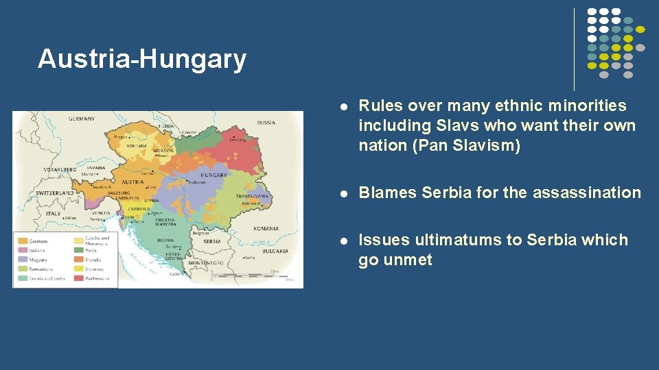 Austria-Hungary l Rules over many ethnic minorities including Slavs who want their own nation