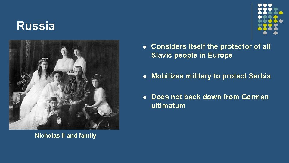 Russia Nicholas II and family l Considers itself the protector of all Slavic people