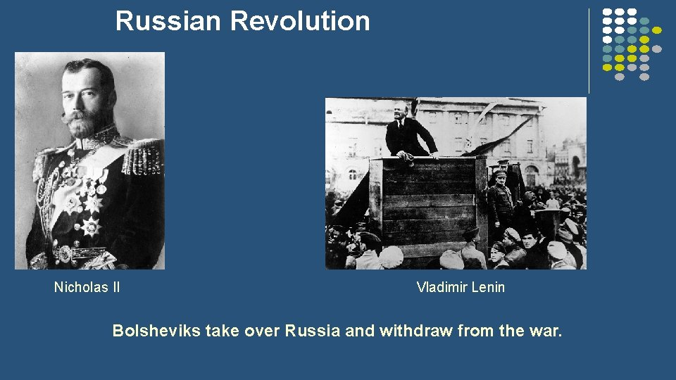 Russian Revolution Nicholas II Vladimir Lenin Bolsheviks take over Russia and withdraw from the