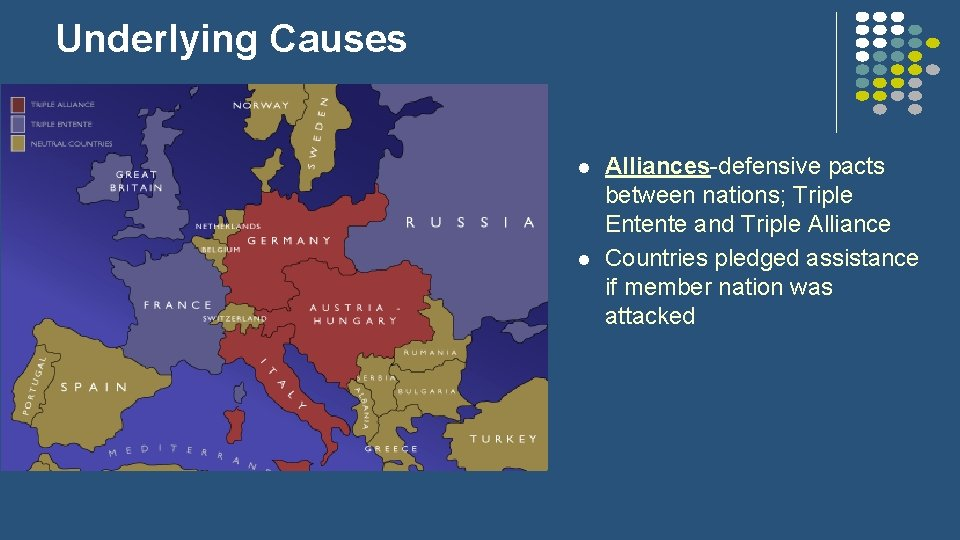 Underlying Causes l l Alliances-defensive pacts between nations; Triple Entente and Triple Alliance Countries