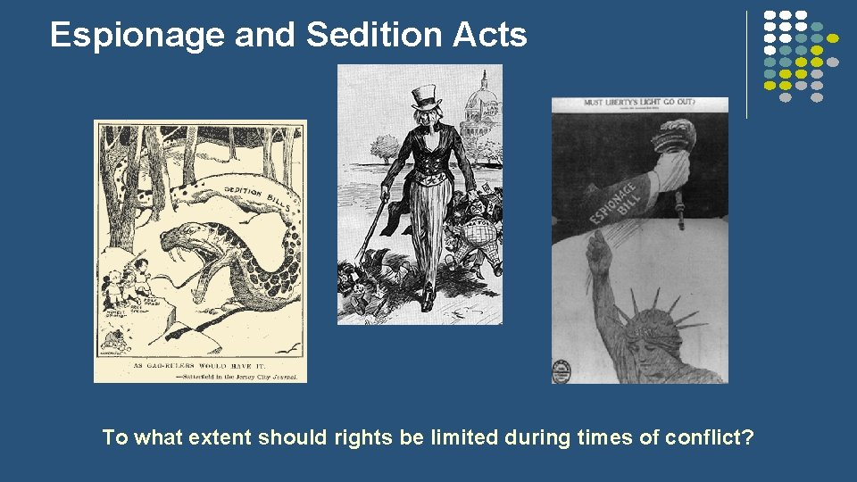 Espionage and Sedition Acts To what extent should rights be limited during times of