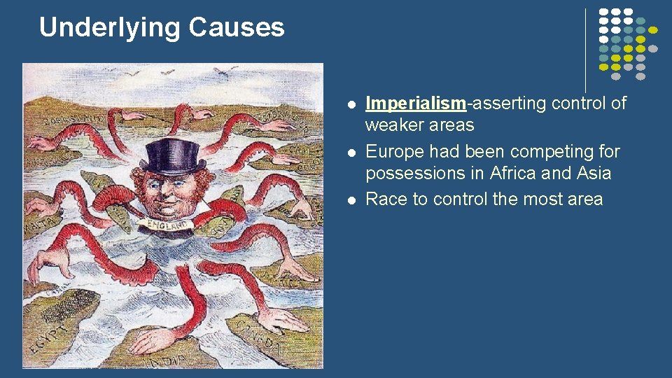 Underlying Causes l l l Imperialism-asserting control of weaker areas Europe had been competing