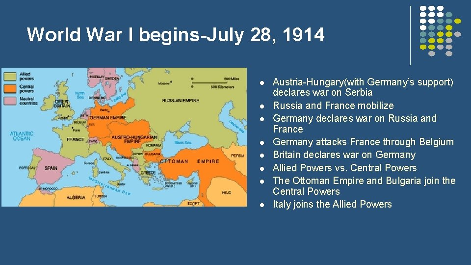 World War I begins-July 28, 1914 l l l l Austria-Hungary(with Germany's support) declares