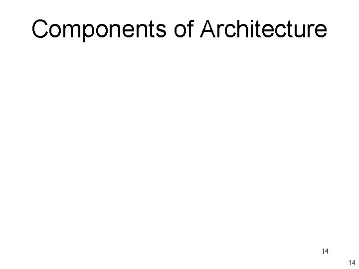 Components of Architecture 14 14