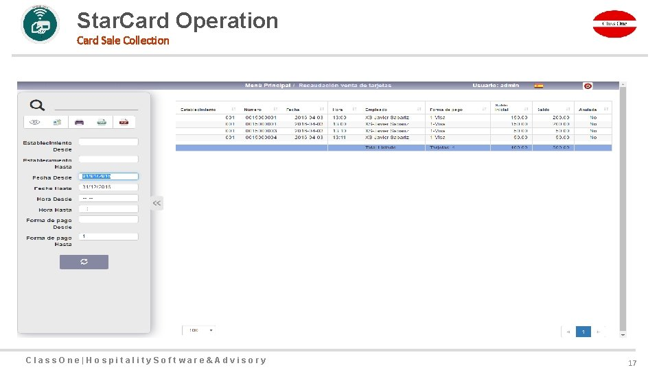 Star. Card Operation Card Sale Collection Class. One|Hospitality. Software&Advisory 17