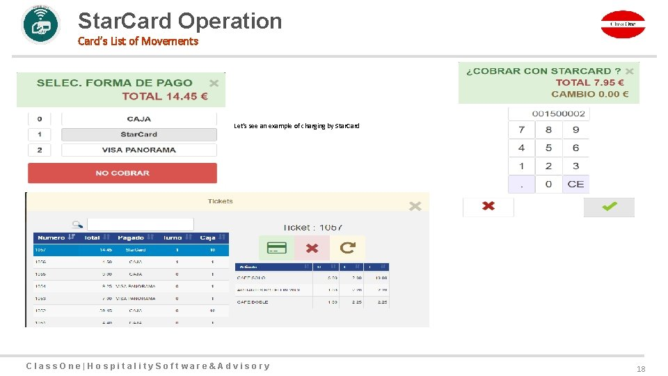 Star. Card Operation Card's List of Movements Let's see an example of charging by