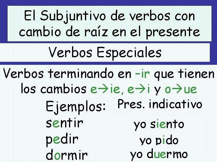 El Subjuntivo de verbos con cambio de raíz en el presente Verbos Especiales Verbos