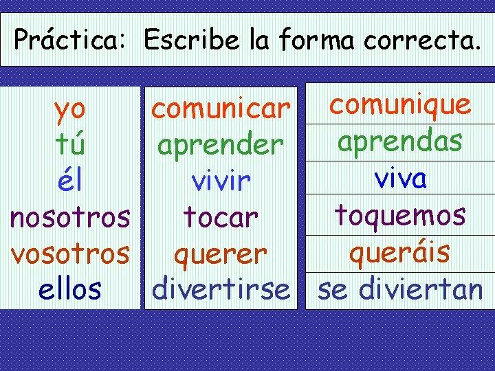 Práctica: Escribe la forma correcta. yo comunicar comunique aprendas tú aprender viva él vivir