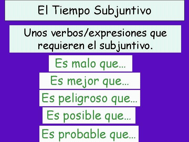 El Tiempo Subjuntivo Unos verbos/expresiones que requieren el subjuntivo. Es malo que… Es mejor