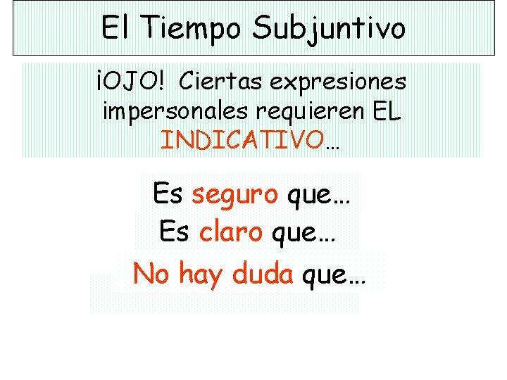 El Tiempo Subjuntivo ¡OJO! Ciertas expresiones impersonales requieren EL INDICATIVO… Es seguro que… Es