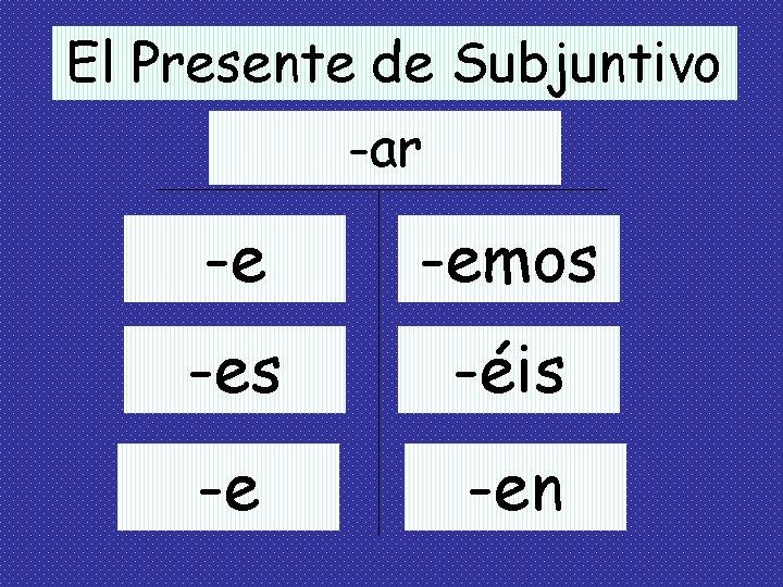 El Presente de Subjuntivo -ar -e -emos -es -éis -e -en