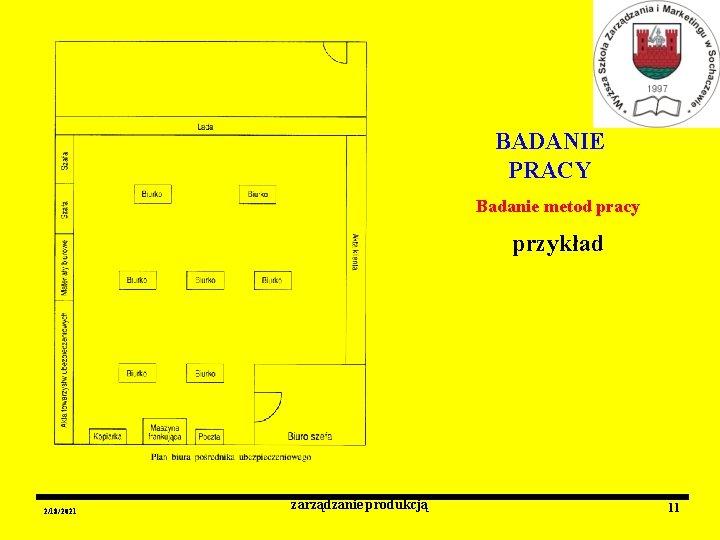 BADANIE PRACY Badanie metod pracy przykład 2/18/2021 zarządzanie produkcją 11