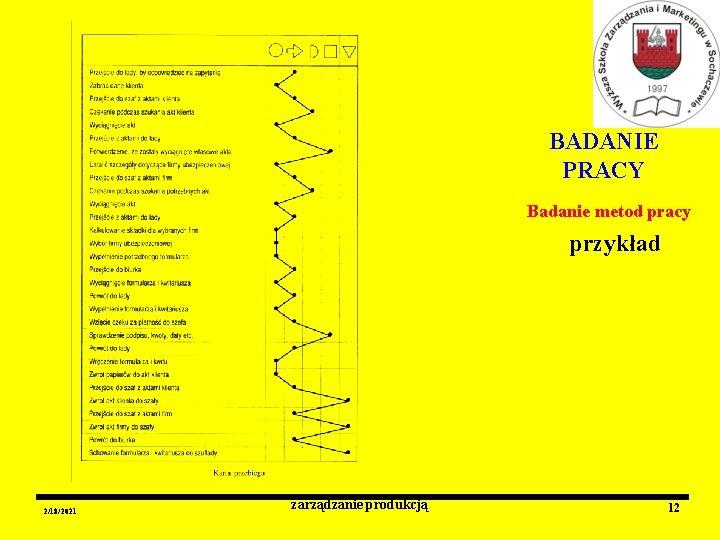 BADANIE PRACY Badanie metod pracy przykład 2/18/2021 zarządzanie produkcją 12
