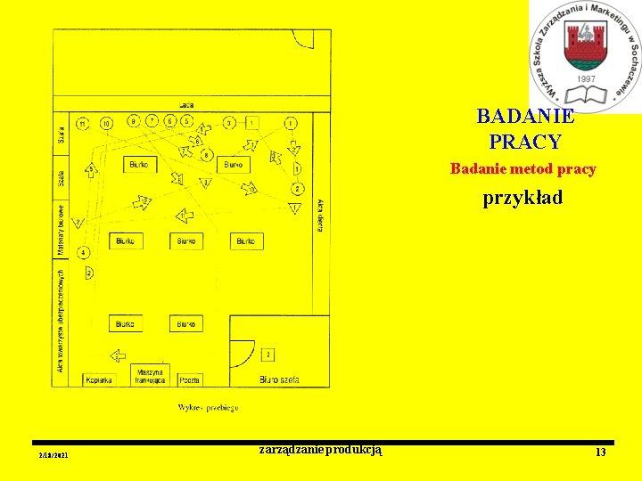 BADANIE PRACY Badanie metod pracy przykład 2/18/2021 zarządzanie produkcją 13