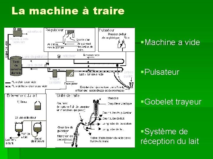 La machine à traire §Machine a vide §Pulsateur §Gobelet trayeur §Système de réception du