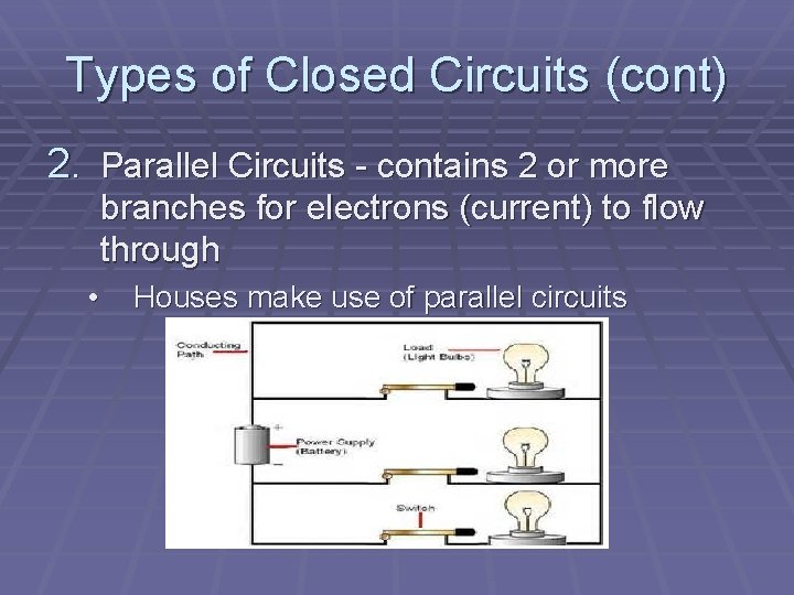 Types of Closed Circuits (cont) 2. Parallel Circuits - contains 2 or more branches