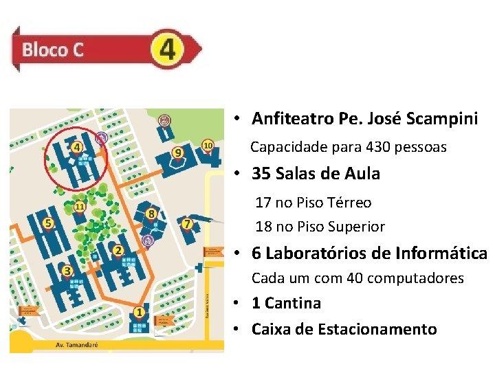 • Anfiteatro Pe. José Scampini Capacidade para 430 pessoas • 35 Salas de